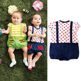 Wholesale Ladybug Jumpsuits - 2015 Summer Infant printing ladybug bees pattern climb clothing baby Romper strap jumpsuit newborn's clothing A062319