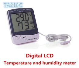 Wholesale Thermometer Big - NEW KTJ TA218C TA 218C hygrometer Thermometer with probe Temperature and humidity meter with big Digital LCD screen