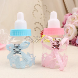Wholesale Pink Candy Favors - 50pcs lot Pink Blue Plastic Bottle Candy Box Baby Shower Baptism Christening Birthday Gift Wedding Party Sweets Favors