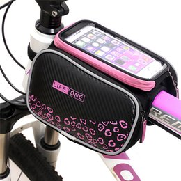 Wholesale Cycling Phone - Waterproof Cycling Bike Bicycle Front Bag Touch Screen Top Tube Frame Bag Pannier Double Pouch for  5.5in Cellphone Phone Pink Green Red