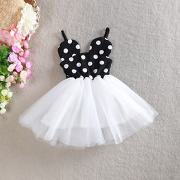 Wholesale Little Girls Fashion Belts - Hot sale little girls princess dress cute Mickey ears modelling kids Condole belt dresses fashion Dot dot children tutu dress ab1832 XQZ
