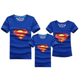 Wholesale Clothes For Father Son - 1pcs Fashion Superman Family Matching Outfits T-shirt 11 Colors Clothes For matching family clothes mother father daughter son