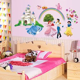 Wholesale Pvc Little Prince - Cartoon Snow White Cinderella and Prince Little Mermaid Fairy Tale DIY Wall Sticker Mural Decal Decorative JIA194