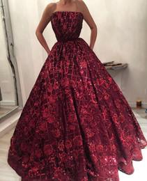 En Stock Wine Red Dark Long Prom Vestidos Encaje 2018 Impresionante Lentejuelas Flores Strapless Vestido De Noche