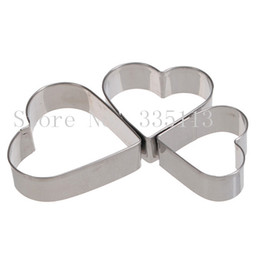 Wholesale Heart Fondant Cake - 3pcs set Stainless Steel Heart Love Fondant Cake Decorating Mould Metal Cutter Plunger cookies cutters fondant chocolate moulds