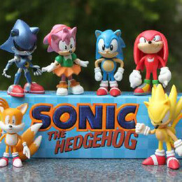 Wholesale Sonic Hedgehog Wholesale - 7cm Free Shipping Sonic The Hedgehog 1Lot=6pcs SEGA Figures Toy Pvc Toy Sonic Characters Figure Toy Action Great for gift