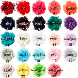 "Wholesale Shabby Flowers For Headbands - Nishine 2"" Handmade Chiffon Flower for Newborn Headband Shabby Chiffon Flowers Hair Clips Beautiful Girls Hair Accessories"