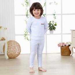 Wholesale Toddler Under Pants - Wholesale-Thermal Underwear Set Toddler Kid Children Baby Boy Girl Solid Cartoon Long John Winter Warm Top + Pants Outfits Free Ship