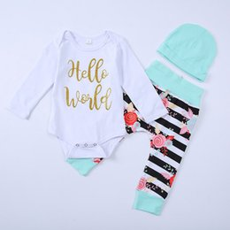 Wholesale Baby Clothes Military - New Baby Outfits Autumn Infant Clothing Sets Letter Long Sleeve Romper Stripe Flower Tights +Hat 3pcs Suits Fashion Toddler Clothes C2594