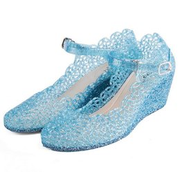 Wholesale Cheap Wedges Sandals Shoes - Wholesale-Summer Princess Sandals Anime Cosplay Shoes Fashion Lolita Sweet Children's Shoes Wedge Cheap Hollow Crystal Shoes