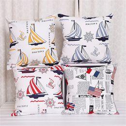 Wholesale Boat Throw Cushions - Hot!Canvas Nautical Boat Waist Throw Pillow Case Car Back Cushion Cover Home Office Hotel Sofa Decor 43cmX43cm