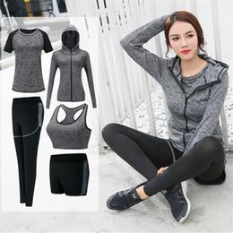 Wholesale Nylon Cycling Shirt - 2017 Yoga Set Women Fitness Running Exercise Sport Bra+Pants+Shirt+Coat+Shorts 4 Colors Breathable Push Up Sports Suit Running Set