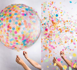 Wholesale Air Suppliers - 36 inch Confetti Balloons Giant Clear Balloons Party Wedding Party Decorations Birthday Party Suppliers Air Balloons 50pc h310