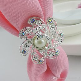 Wholesale Whosale Wedding Accessories - Whosale Wedding Napkin Rings Pearls Rhinestone Flowers Napkin Rings Hotel   Wedding Supplies Table Decoration Accessories Free Shipping