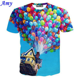"Wholesale Galaxy Tshirts - w1209 [Amy] men women clothes 3D t shirt ballon fly print film ""UP"" movie cartoon tshirts galaxy lover summer tee tops T04"