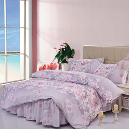 Wholesale full bedskirt - Wholesale-2015 new home textile quilt set bed sheet line bedclothes Aloe cotton bedskirt 4pcs bedding set comforter bedding sets