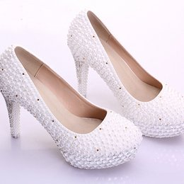 Wholesale Princess Vogue - New Bridal Shoes White Gorgeous Vogue Crystals and Pearl High Heels Wedding Dress Shoes Princess Women Party Prom Pumps Handmade