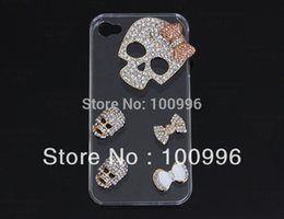 Wholesale Diy Bling Cell Phone - Wholesale-New cell phone bling kits white rhinestone alloy skull charm for diy cell phone decor Free shipping Small Wholesale 6pcs Dy503