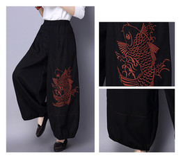 Wholesale Cotton Bloomers For Women - JAYLENE Folk style Women Casual slacks Pants bloomers Embroidery Cotton Elastic Waist Trousers Joker For Female And For Free Shipping