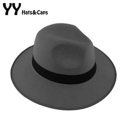 Wholesale Black Felt Hat Wool - Wholesale-2015 Hot Sale Kentucky Derby Hats Classical Mens Wide Brim Felt Wool Fedora Hats For Floppy Cloche Cap Cool For YY0727