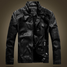 Wholesale Leather Motorcycle Jackets Mens - Wholesale- autumn and winter leather jacket mens plus velvet warm PU leather jacket male motorcycle jackets black and brown outerwear 8877
