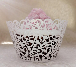 Wholesale Laser Cut Lace Cake - Lace Laser Cut Cup cake Wrapper Liner Baking Cup Muffin cup Laser cutting Coconut palm Cupcake Wrapper Baking Papers Cups