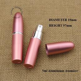2019 15 ml de tampões de garrafa de vidro em âmbar 10 pcs 5 ml D19 * H97mm Moda rosa alumínio + vidro perfume atomizador tamanho spray de viagem garrafa frete grátis