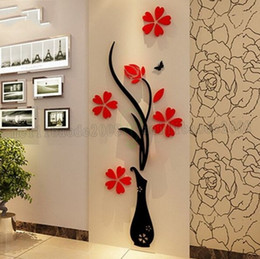 Wholesale Floral Wall Decals - Wholesale Wall Stickers Acrylic 3D Plum Flower Vase Stickers Vinyl Art DIY Home Decor Wall Decal Red Floral Wall Sticker Colors MYY