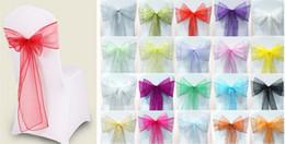 material de hoja Rebajas Cubierta de la silla Sashes Organza Material 100 PCS Wedding Sash Decoraciones del banquete de boda Bow 110 Color, decoración de la boda, envío gratis