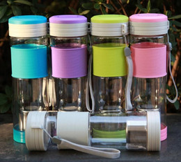 Wholesale Tea Cup Portable - NEW Healthy Travel Tea Cup Portable Sport Travel Water Bottle 550ml 5 Colors Travel Mug With Filter Strainer Tea Bottles
