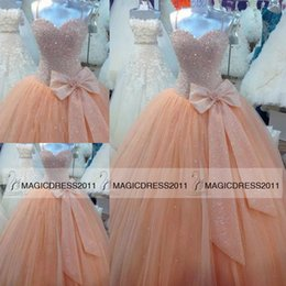 Wholesale Cheap Classic Corset Prom Dresses - 2015 Cinderella Quinceanera Dresses with Sweetheart Corset Back Beaded Bodice Organza Fluffy Prom Dress Sweet Sixteen Ball Gowns Cheap
