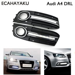 Wholesale audi a4 fog lights - 1 Pair Super bright Brand new style 12v led car DRL daytime running lights with fog lamp hole for Audi A4 2009-2012