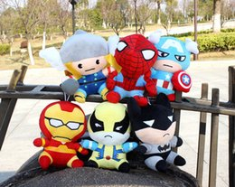 Wholesale Superman Stuff Doll - Hot Selling Newest Plush toy doll For Q version The Avengers Superman Spiderman Batman Iron Man Stuffed Toys18cm 38006253863 201410HX