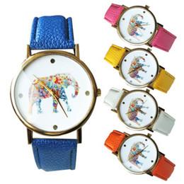 50pcs / lot 2015 mulheres elefante design flor impressão senhoras couro PU relógio de pulso moda vestido de quartzo relógios de