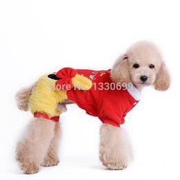 Wholesale Baby Pet Clothes - Wholesale-Dog baby Embroidery Pet Apparel Dog Winter four legs Sweaters Two Color Doll & Bow Puppy Clothing