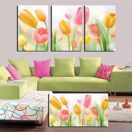 Wholesale Wild Flowers Oil Painting - 3 Pieces no frame Free Shipping on Canvas Prints tulips Daisy wild flower cherry blossoms Fuji Dandelion Cartoon London New York Paris snow
