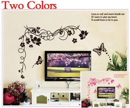 Wholesale Tree Vines Flowers Wall Decals - large trees vine butterfly tv sofa background wall stickers living room decoration 817 flowers home decals office mural art 4.0