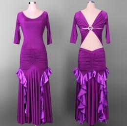 Wholesale Tango Dresses Purple - 2015 New Arrival Ballroom Dance Dress 7 Colors Flamenco Dresses Vestido De Formatura Tango Waltz Dance Dress Escapulario DQ5040