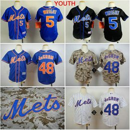Wholesale Ny Children - Youth New York Mets 5 David Wright 48 Jacob DeGrom boys ny Jersey stitched Authentic Kids Baseball Shirt for children
