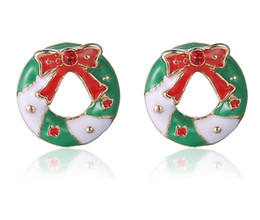 Wholesale Enamel Bowknot - Christmas Gifts Stud Earrings Korea Retro Red Bowknot Cute 16mm Ms. Ring Earrings Alloy + Enamel Rhinestone