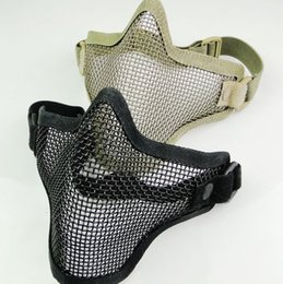 Wholesale Wire Mesh Prices - Half Face Metal Mesh Mask Tactical Airsoft Steel Wire Paintball Resistant Skull Tan Camo Protective Masks Factory Price
