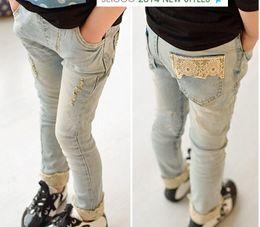 Wholesale Korean Girl Jeans - Korean girls spring autumn clothing children's jeans lace flower jeans pants 5 p l free shipping