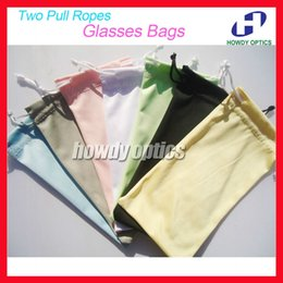 Wholesale Microfiber Pouch Wholesale - Wholesale-50pcs Free Shipping Quality 100% Polyester 175gsm microfiber Two Pull Ropes 7 Colors Sunglass Eyewear Glass Cloth Bag Pouch