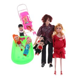 Wholesale Carriage Doll - Wholesale- 7PCS set Happy Family Dolls Pregnant Babyborn curly hair Ken Prince&Wife Babyborn Stroller Toys Carriages For Dolls Child Gifts