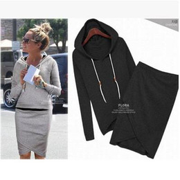 Wholesale Long Slim Black Skirt - 2017 New Fashion Hoodies + Dress Skirt Long Sleeve Hoody Sweatshirts Women Coats Outwear Hooded Pullovers Sportswear Clothing Set E94
