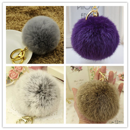Wholesale Plush Red Rose Bag - 2015 Trendy Cute Genuine Leather Rabbit fur ball plush keychains key ring Bag Pendant car keychain Round shape Handmaking European