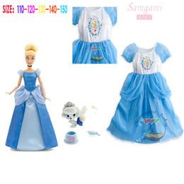 Wholesale Cartoon Character Costume Princess - 2015 new baby girls fashion princess Cinderella Dress kids party cosplay costumes cinderella dress movie girls cartoon character dresses