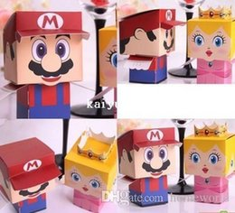 Wholesale Super Marie Box - H02 cartoon Super Marie Bros princess Bride and Groom wedding favors Mario candy box for wedding gifts50pcs lot