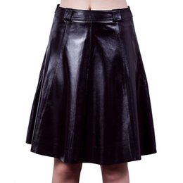 Wholesale Full Leather Skirt - Jiashibao Free Shipping First Layer Real Sheep Leather A-line High-waisted Black Skirt Pleated Dress OL Sexy Fashion Full Skirt Swing Skirt
