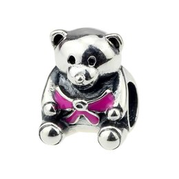 Wholesale Hunter Bear - Beads Hunter Jewelry Authentic 925 Sterling Silver Teddy Bear With pink Bow s925 Charm big hole bead For 3mm European Bracelet snake chain
